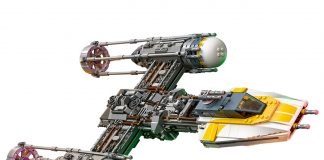 Star Wars Lego Y Wing Set Side View Flying 2